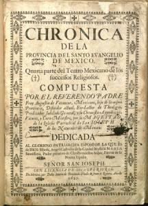 Title page of Chronica de la Provincia del Santo Evangelio de Mexico