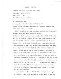 First page of transcript from oral history interview with bookbinder Edward J. Wilding, 1980.
