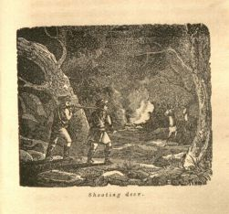 Deer hunting engraving from Trip to the West and Texas (1833)