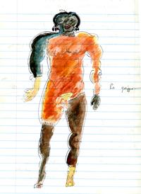 Le Griffon watercolor in unidentified notebook, circa 1995