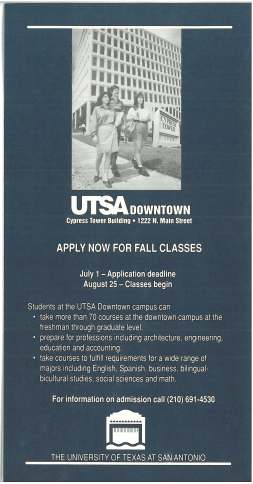 The first class schedule of UTSA downtown classes in 1994 at Cypress Towers