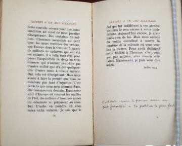 Lettres à un ami allemand / par Albert Camus.