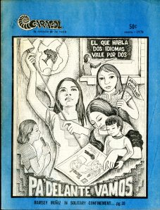 """Pa Delante Vamos"" by Angela de Hoyos of San Antonio, Texas. Front cover of Caracol, January 1978 [E184 .M5 C368]"