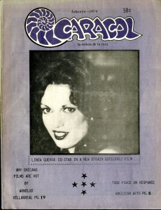 Photograph of Linda Guerra, San Antonio model and actress, taken by Arnoldo Villarreal. Front cover of Caracol, February 1979 [E184 .M5 C368]