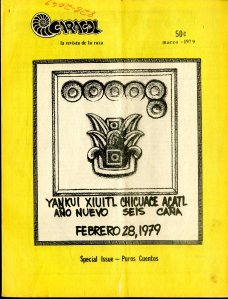 "Pen, ink, and charcoal drawing by Jesus ""Chista"" Cantú of San Antonio, Texas. Front cover of Caracol, March 1979 [E184 .M5 C368]"