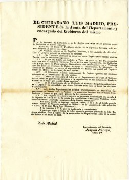 Decree of the Congresso General separating Texas from Coahuila, Mexico