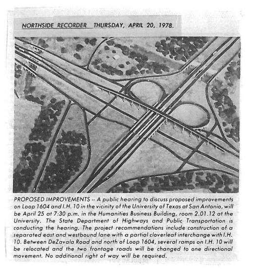 Photograph of model of proposed 1604 Interchange, Northside Recorder, April 20, 1978