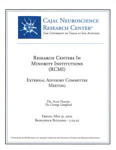 Cajal Neuroscience Research Center advisory meeting, 2003