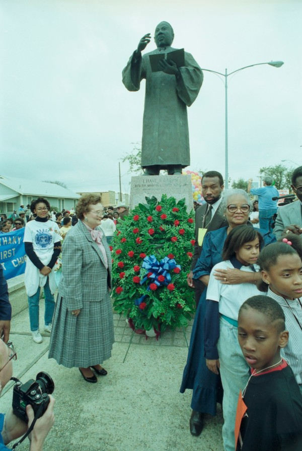 S. A. Mayor Lila Cockrell and Dallas County Commissioner John Wiley Price at MLK Day wreath-laying ceremony at Martin Luther King, Jr. Plaza, January 15, 1990. (MS 360: E-1990-1-15A-8)