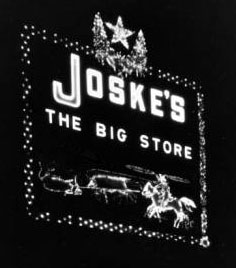 Joske's neon sign at night, circa 1930s, MS 362