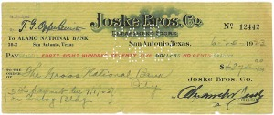 canceled check found in Joske's basement