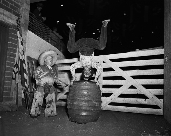 Famous rodeo clowns Jack Kemp (left) and Jimmy Schumacher.  (MS 359: L-3913-C)