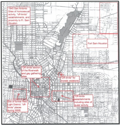 1945 Off-limits areas and sites of queer coalescence in San Antonio's dowtown, map by Melissa Gohlke in Out in the Alamo City: Revealing San Antonio's Gay and Lesbian Past, World War II to the 1990s (Master's thesis, the University of Texs at San Antonio, 2012)