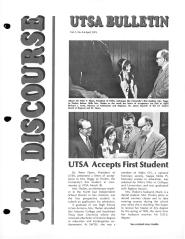 Discourse UTSA Bulletin, Vol. 1 No. 3, April 1973. UTSA University Publications Collection, 1973-2010, UA 01.02.