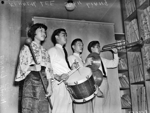 The Drum and Bugle Corp of the San Antonio Chinese School, June 1938.  (MS 359:  L-1867-F)