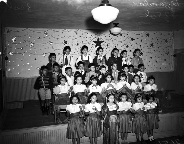 First grade rhythm band at Lorenzo De Zavala School, January 1941.  (MS 359:  L-2651-F)