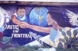 Carmela Rodriguez intern files, Amistad Sin Frontera mural in Del Rio, Texas, 1993