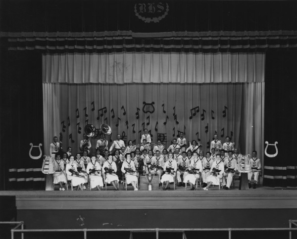 Brackenridge High School Orchestra with awards, 1936-37.  (MS 355: Z-0220-3-1)