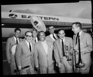 Happy Jazz Band greeting Louis Armstrong at the San Antonio International Airport, December 1965