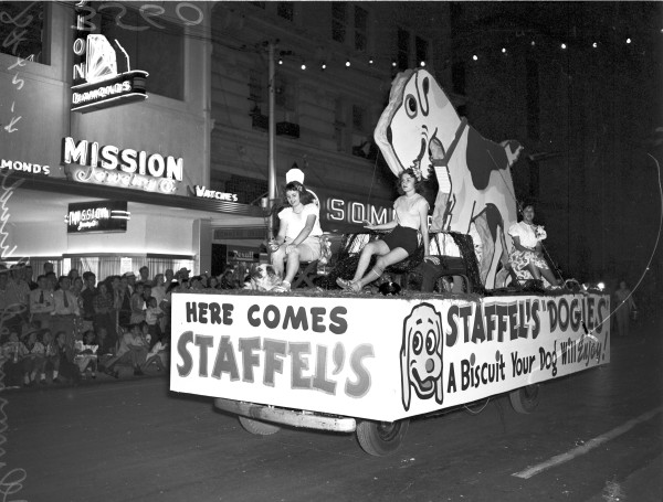 Ferd Staffel Feed Company float.  (MS 359:  L-3560-C-5)