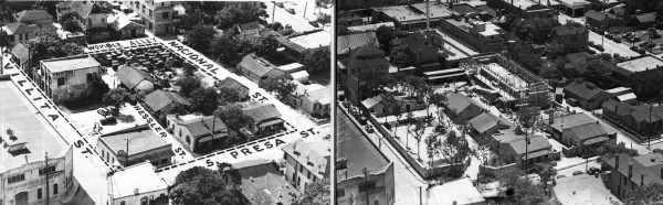 Bird's-eye views of La Villita from the Smith-Young Tower (now Tower Life Building). Left photo (MS 359: L-2203-P) shows the area in July 1939, when the project was announced.  Right photo (MS 359: L-2203-B), shows it in May 1941, after completion of the restoration of the historic structures.  Construction continues on Boliver Hall (center), a new community building funded by the Carnegie Corporation.