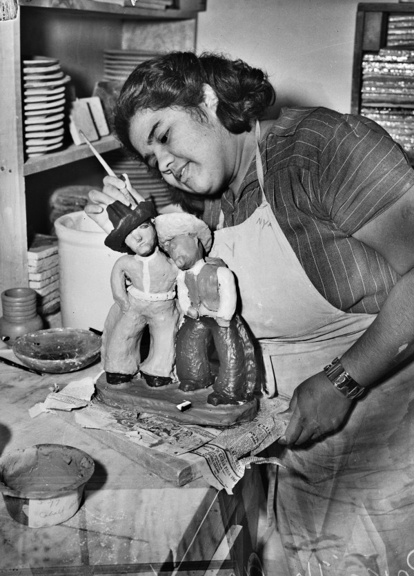 Priscilla Camacho, NYA worker in the ceramic studio at La Villita, March 1941.  (MS 359: L-2690-A)