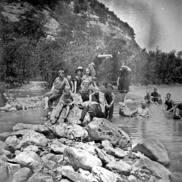 Members of the Dreiss family and friends at the Guadalupe River near Waring, c. 1893 (MS 362:  086-0438)