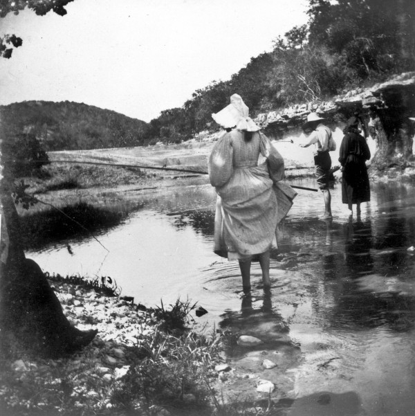 San Antonio residents fishing in a Texas Hill Country stream, c. 1893.  (MS 362:  086-0440)