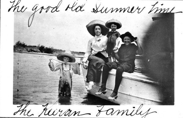 Gertrude Keeran and children on a boat ride down Garcitas Creek, Victoria County, c.  1913.  (MS 362: 095-165)