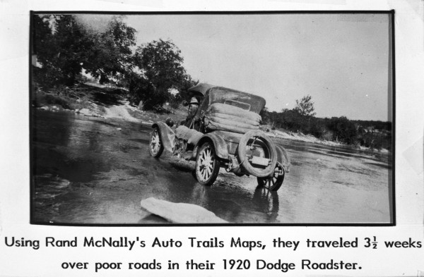 Hans and Anna Anderson, Matagorda County farmers, are about to cross a river in the Texas Hill Country, early 1920s.  (MS 362:  098-0459)