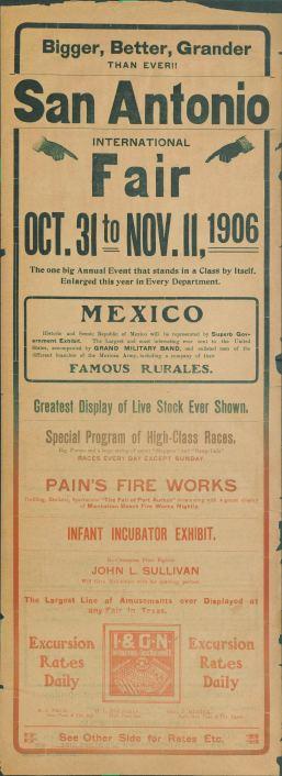 San Antonio International Fair, Oct. 31 to Nov. 11, 1906. [Broadside]. UTSA Libraries Special Collections