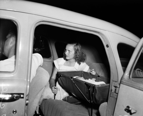 Marvel Smith and her husband, Kelso Smith, see a movie without hiring a babysitter, May 1948.  (MS 359:  L-3571-F)