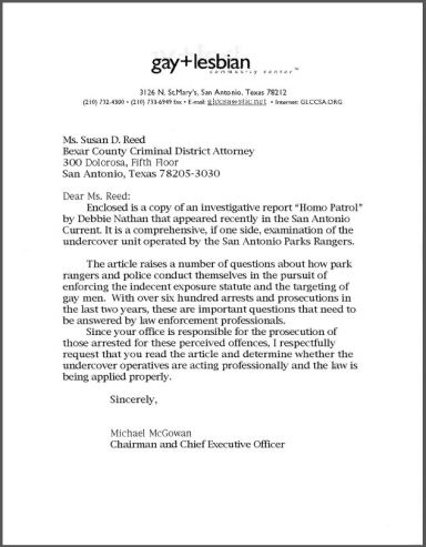 Letter to Bexar County Criminal District Attorney Susan Reed from Michael McGowan