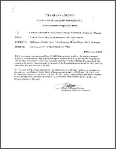 Sexual Activity in McAllister Park memorandum, June 2, 1995