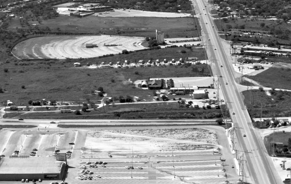 Alamo Drive-In Theater, 1428 Austin Highway, next to Modern Trailer Court at intersection of Harry Wurzbach Highway.  (MS 355:  Z-1010-A-15)