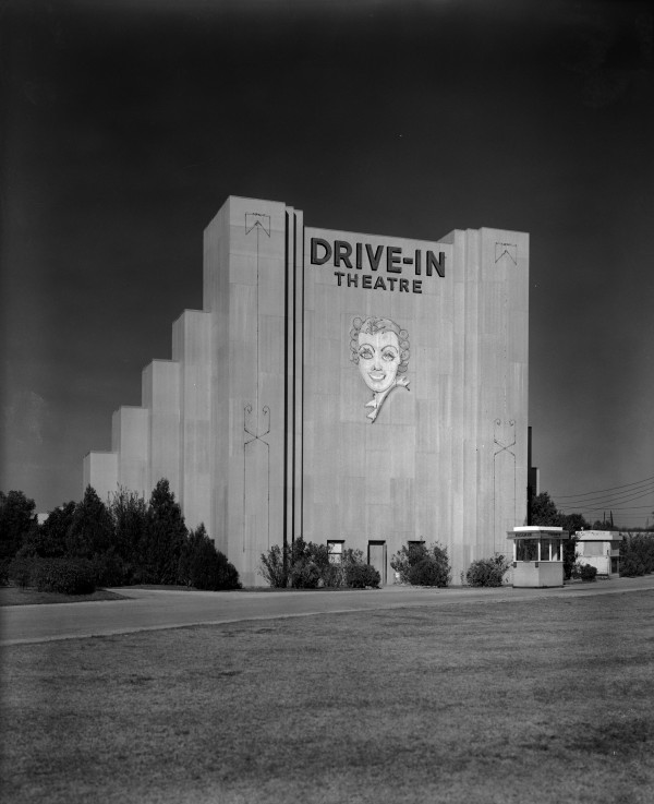 Mural of an actress on the screen tower of the Fredericksburg Drive-In Theatre, 3534 Fredericksburg Road, 1940s.  (MS 355:  Z-1216-B-4)