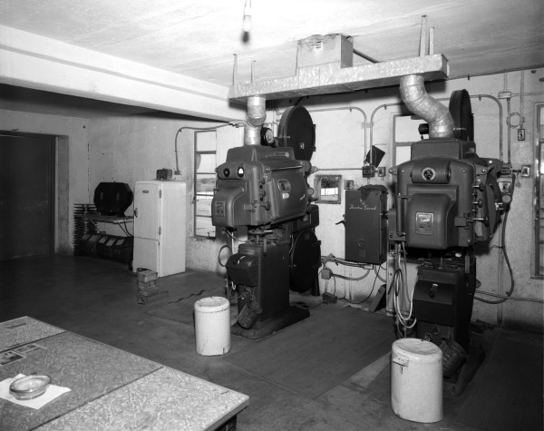 Projection booth at Lackland Drive-In Theatre, 7208 Somerset Road, 1963.   (MS 355:  Z-1468-A-34068)