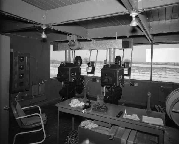 Projection booth at Towne Twin Drive-In Theatre, 4719 Dietrich Road, 1963.  (MS 355:  Z-1468-B-34077)