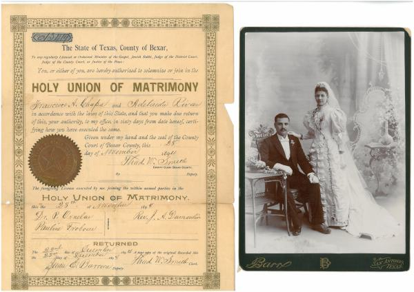 Francisco A. Chapa and Adelaida Rivas marriage license and portrait, 1888