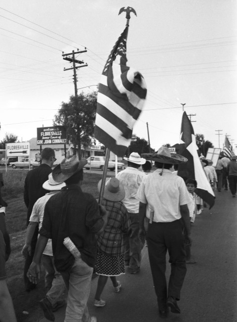 Marchers arrive in Floresville, the hometown of Texas Governor John Connally, August 23, 1966.  (MS 360: E-0012-187-A-02)