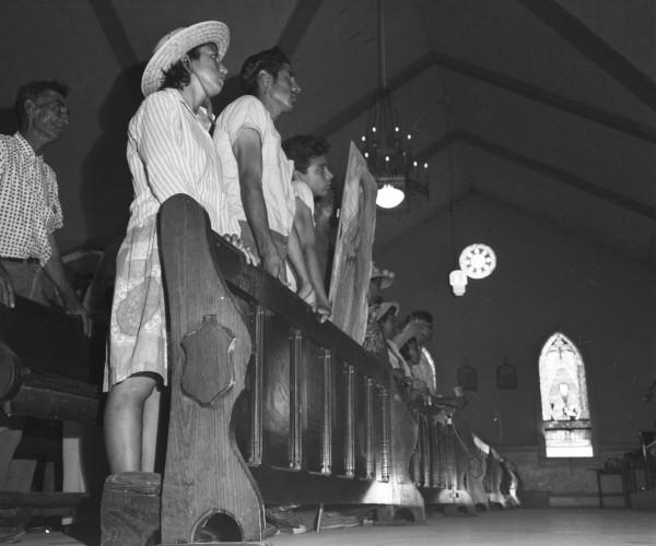 Marchers at Mass in Sacred Heart Catholic Church, Floresville, August 23, 1966.  (MS 360: E-0012-187-A-22)