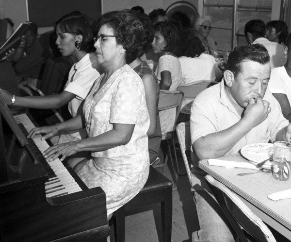 Dinner for the marchers at El Mesias United Methodist Church, Floresville, August 23, 1966.  (MS 360: E-0012-187-A-28)