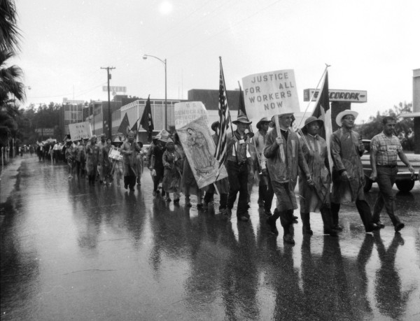 Following a pouring rain, the marchers walk along S. Main Avenue near downtown, August 27, 1966.  (MS 360:  E-0012-187-D-16)