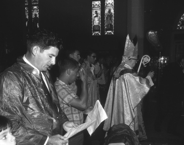 Archbishop Robert E. Lucey at a Pontifical Mass for the marchers at San Fernando Cathedral, August 27, 1966.  (MS 360: E-0012-187-E-06)