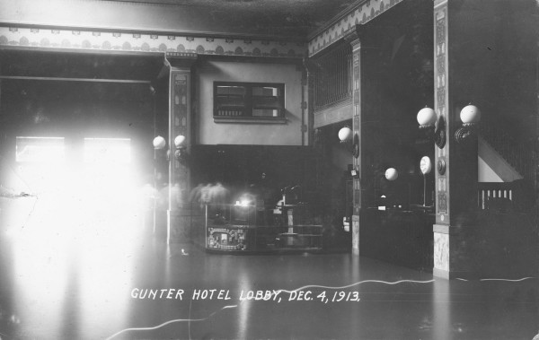 Floodwaters around the telegraph office in the Gunter Hotel, December 4, 1913.  (MS 362:  113-047)