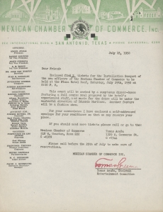 Letter of correspondence regarding an installation banquet of new officers for the Mexican Chamber of Commerce, July 15, 1950, MS 126