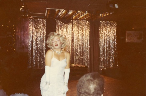 Jimmy James as Marilyn Monroe, performing at the Broadway Cabaret, 1982