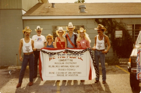 Lollie poses with Reno Gay Rodeo group, circa 1980