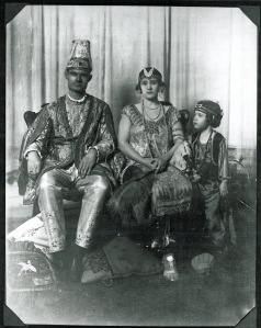 French S. Tarkington and Mabel Claire Hall with unidentified girl, Turkey Trot Sultan and Sultana, 1922, General Photograph Collection, MS 362