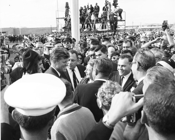 President Kennedy interacts with the crowd following his speech.   (MS 360:  E-0009-141-A-12)